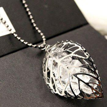 Stunning Rhinestone Leaf Hollow Out Sweater Chain For Women - SILVER