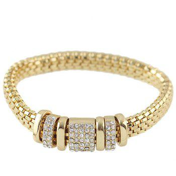 Retro Rhinestone Circle Snake Chain Bracelet For Men