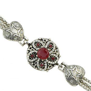 Faux Gem Rhinestone Heart Flower Bracelet - RED