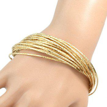 Superbe Solid Color Multilayer Embossed Cercle Bracelet pour les femmes - Or