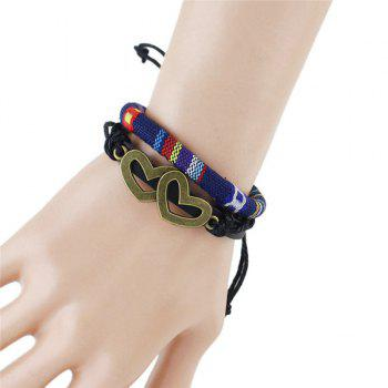 Hollow Double Hearts Embellished Tribal Style Wrap Bracelet For Women