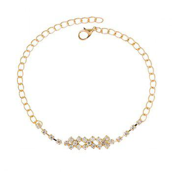 Delicate Faux Zircon Cross Foot Bracelet - GOLDEN GOLDEN