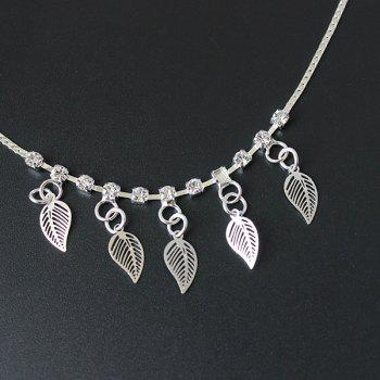 Rhinestone Hollow Out Leaf Charm Anklet -  SILVER