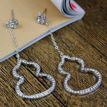 Pair of Rhinestone Hollowed Calabash Shape Pendant Earrings