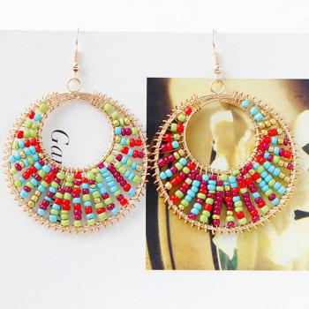 Pair of Bead Round Drop Earrings - COLORMIX
