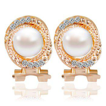Pair of Faux Pearl Rhinestone Embossed Stud Earrings