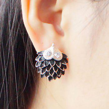Rhinestone Hedgehog Earrings - BLACK