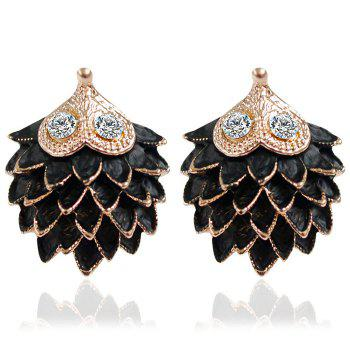 Pair of Rhinestone Carving Hedgehog Stud Earrings For Women