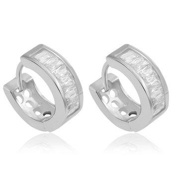 Pair of Rhinestone Hollow Out Earrings