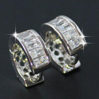 Pair of Rhinestone Hollow Out Earrings - SILVER