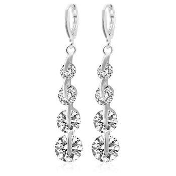 Pair of Sparkly Rhinestone Long Clip Earrings For Women