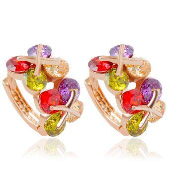 Pair of Colorful Faux Gem Flower Clip Earrings For Women
