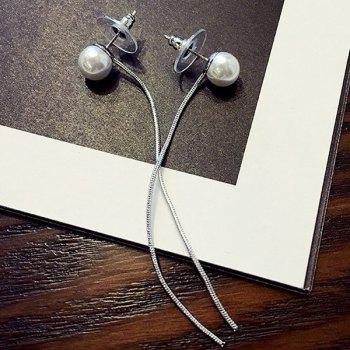 Pair of Graceful Faux Pearl Rope Earrings For Women