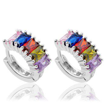 Pair of Colorful Faux Gem Clip Earrings For Women
