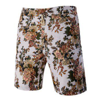Plant Printed Elastic Waist Board Shorts For Men