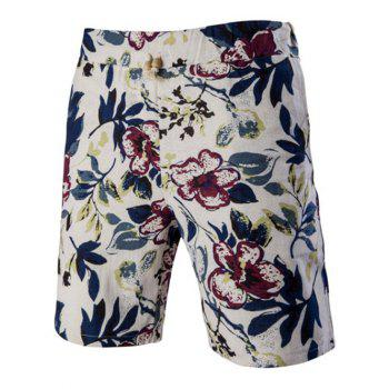Flower Printed Elastic Waist Board Shorts For Men