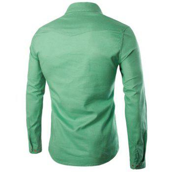 Men's Casual Solid Color Pullover Shirts - GREEN XL