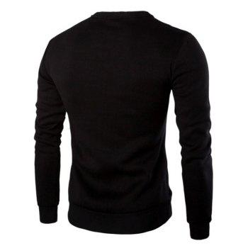 Zipper Design PU Leather Panel Sweatshirt - BLACK 2XL