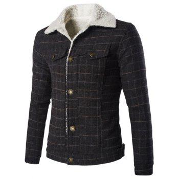Fur Collar Checked Single Breasted Jackets For Men