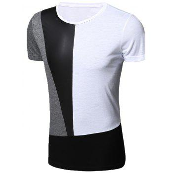 Stylish Round Neck PU-Leather Spliced Short Sleeve Men's T-Shirt