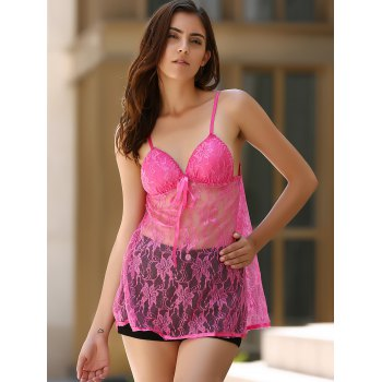 Alluring See-Through Spaghetti Strap Babydolls For Women - ROSE ROSE