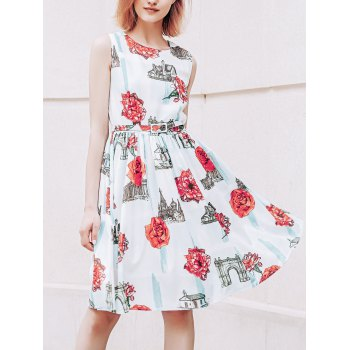 Stylish Jewel Neck Sleeveless Floral Print  Belted Flare  Dress