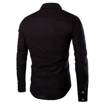 Men's Casual Solid Color Single Breasted Shirts - BLACK L