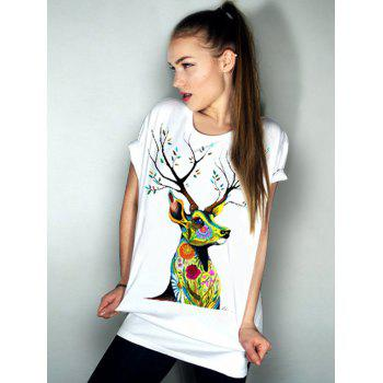 Casual Elk Pattern Short Sleeve Round Neck Women's T-Shirt - WHITE S