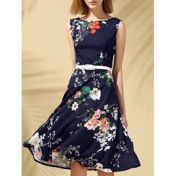 Vintage Sleeveless Round Neck Slimming Floral Print Women's Dress