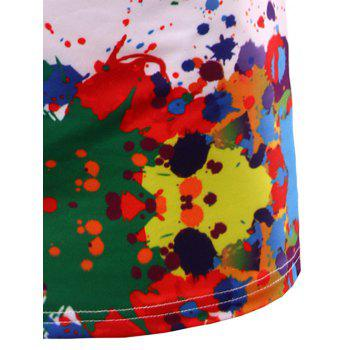 Crew Neck Colorful Splatter Paint Print T-Shirt - COLORMIX M