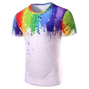 3D Splatter Paint Crew Neck T-Shirt