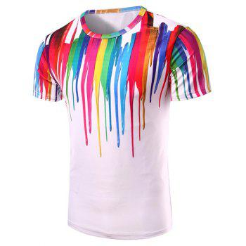 T-shirt 3D Colorful Imprimer Vertical Splash-Ink col rond manches courtes hommes s ' - multicolorcolore L