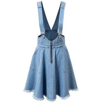 Fashion Zipper Rough Selvedge Denim Suspender Skirt For Women
