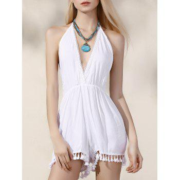 Stylish Plunging Neck Backless Women's White Romper