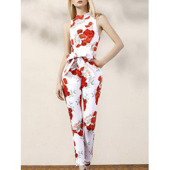 Stylish Turtle Neck Sleeveless Floral Women's Jumpsuit