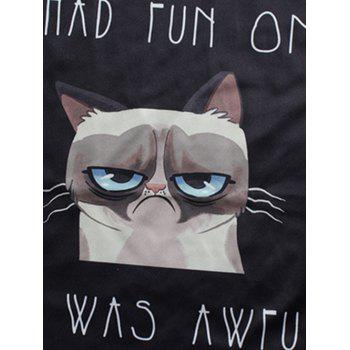 Gloomy Cat and Letters Print Round Neck Short Sleeve Men's T-Shirt - BLACK XL