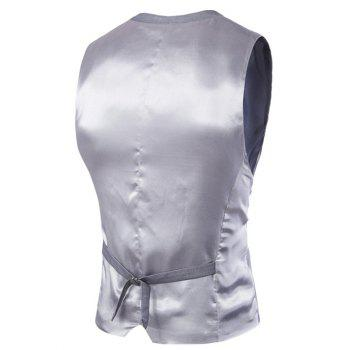 Slimming Single Breasted Men's Solid Color Waistcoat - LIGHT GRAY XL