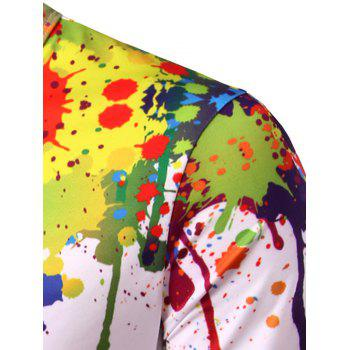 Crew Neck Colorful Splatter Paint Print T-Shirt - COLORMIX XL