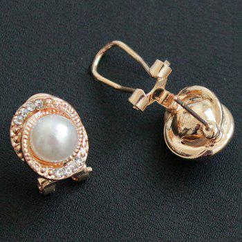 Pair of Faux Pearl Rhinestone Embossed Stud Earrings - ROSE GOLD