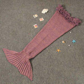 Flouncing Sleeping Bag Knitting Mermaid Blanket For Kids - PLUM