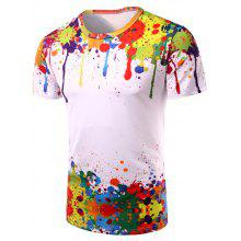 Crew Neck Colorful Splatter Paint Print T-Shirt