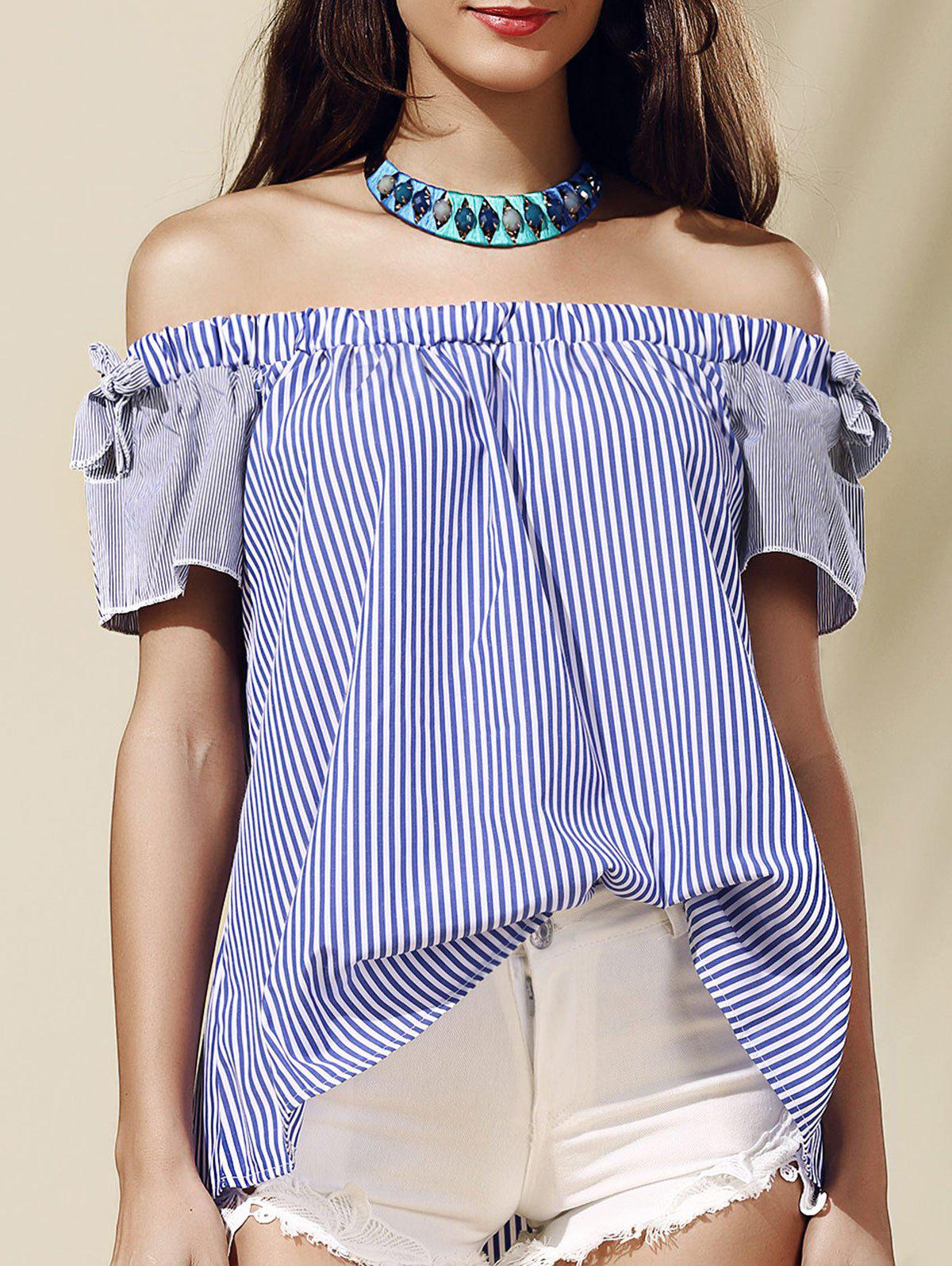 Stylish Striped Off-The-Shoulder Cut Out Women's Blouse - BLUE M