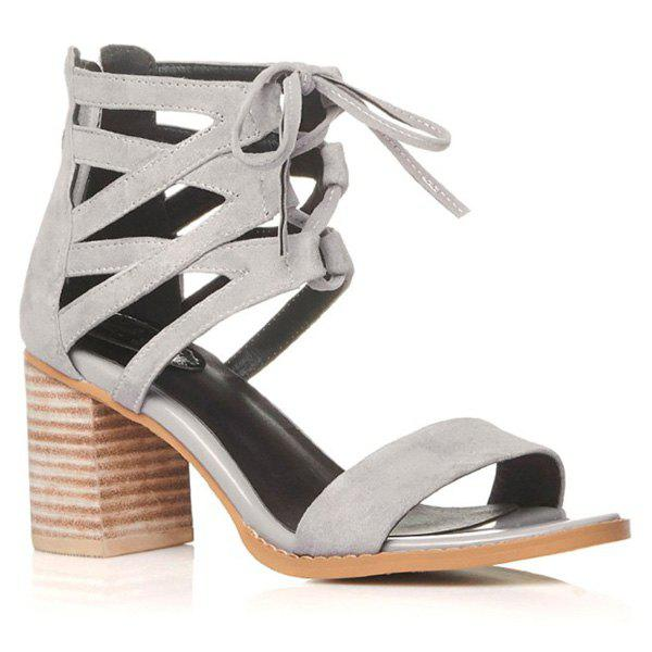 Stylish Hollow Out and Chunky Heel Design Women's Sandals
