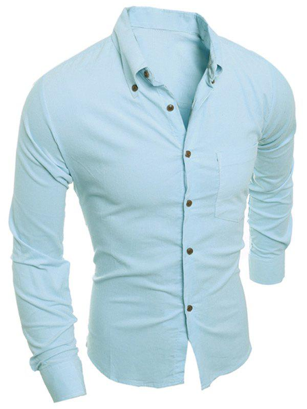 Turn-Down Collar Slimming Long Sleeve Button-Down Corduroy Men's Shirt - AZURE 2XL