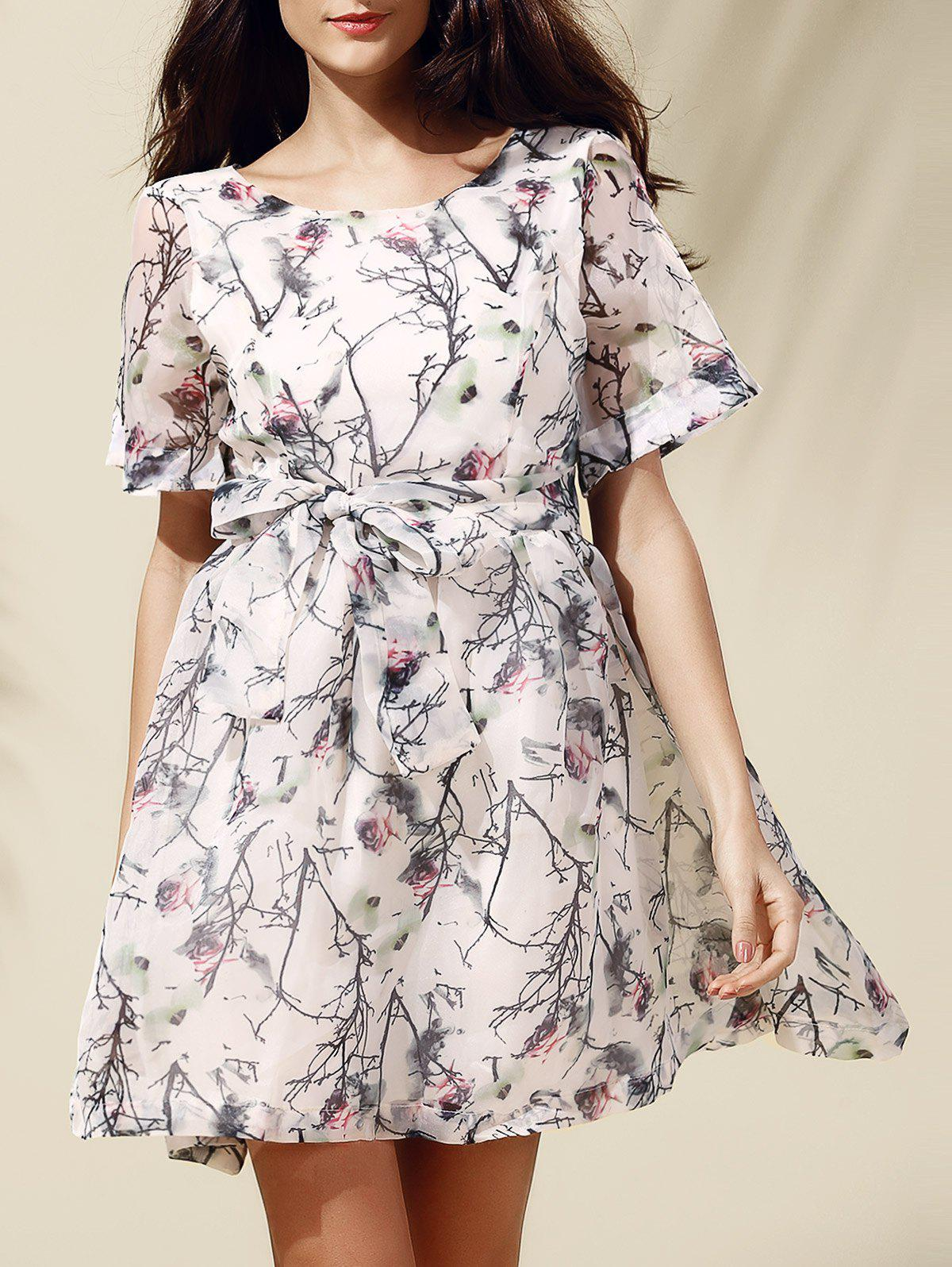 Sweet Women's Short Sleeve Scoop Neck Floral Print Self-Tie Dress