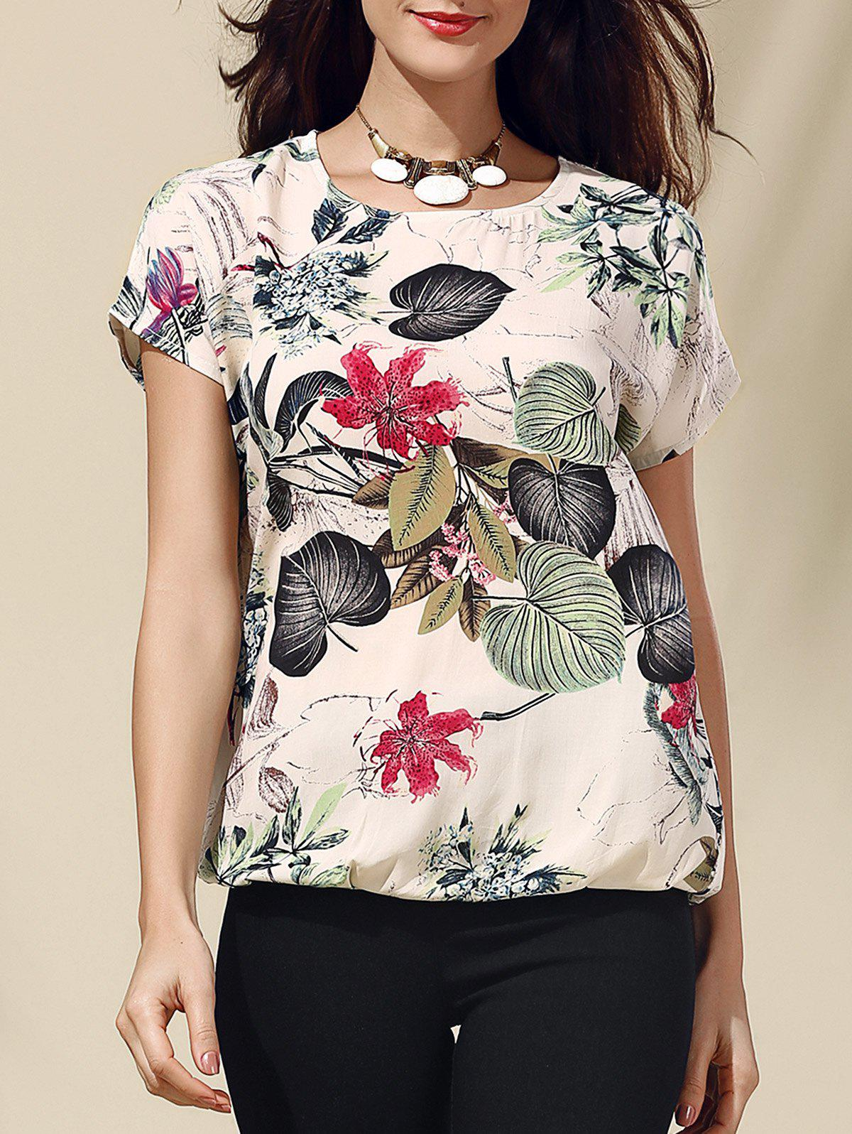 Retro Style Scoop Neck Short Sleeve Floral Print Loose Women's T-Shirt - GRAY S
