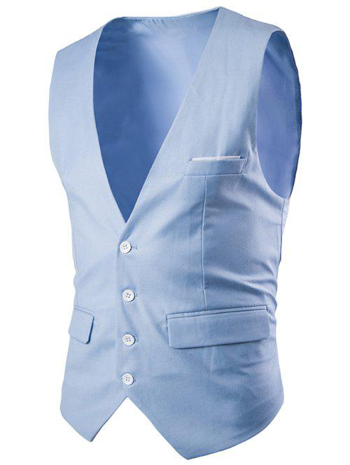 Slimming Single Breasted Men's Solid Color Waistcoat - LAKE BLUE 2XL