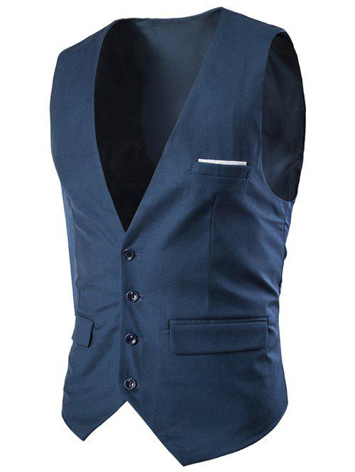 Slimming Single Breasted Men's Solid Color Waistcoat - NAVY BLUE XL