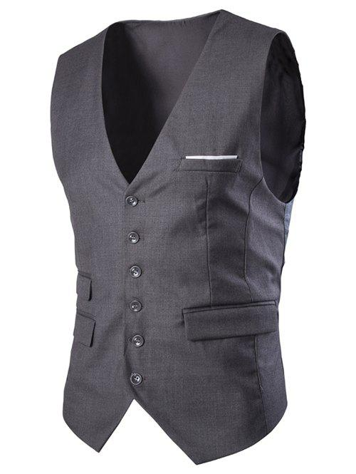 Slim Fit Single Breasted Men's Solid Color Waistcoat - DEEP GRAY 2XL