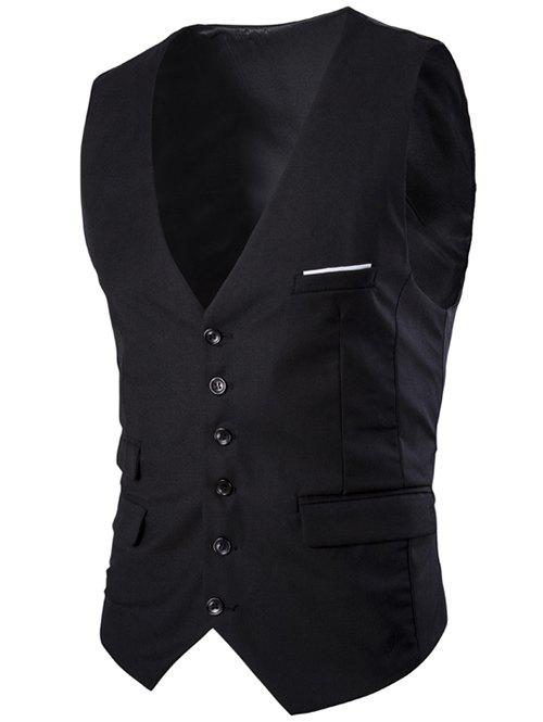 Slim Fit Single Breasted Men's Solid Color Waistcoat - BLACK M